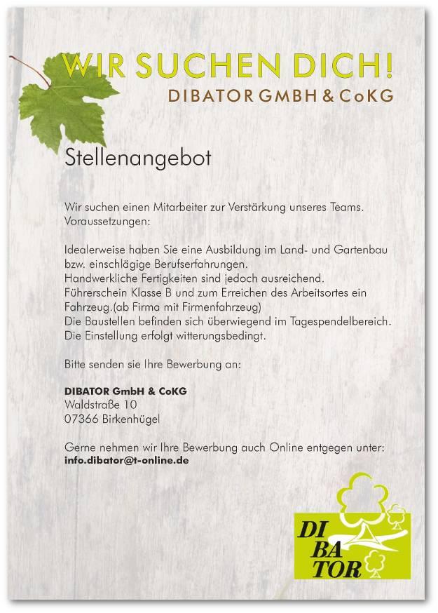 Stellenangebot - DIBATOR GmbH & Co KG