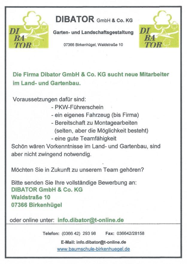 Stellenangebot - DIBATOR GmbH & Co KG 04/2018